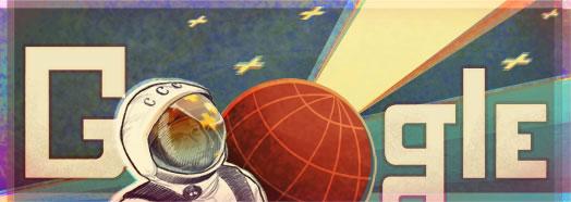 Logo Google premier homme dans l'espace
